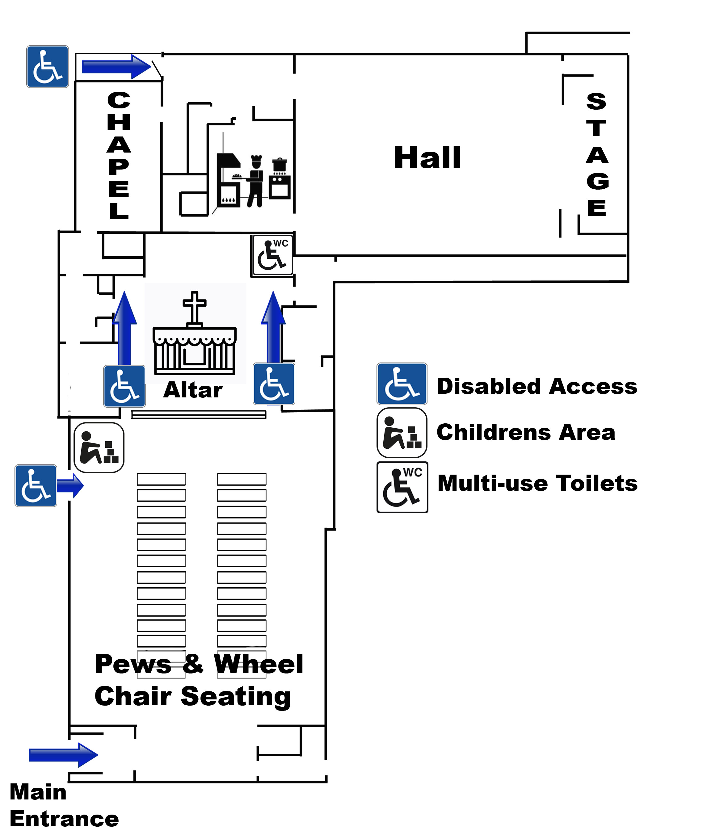 Map of cathedral showing wheelchair accessible information and children's area