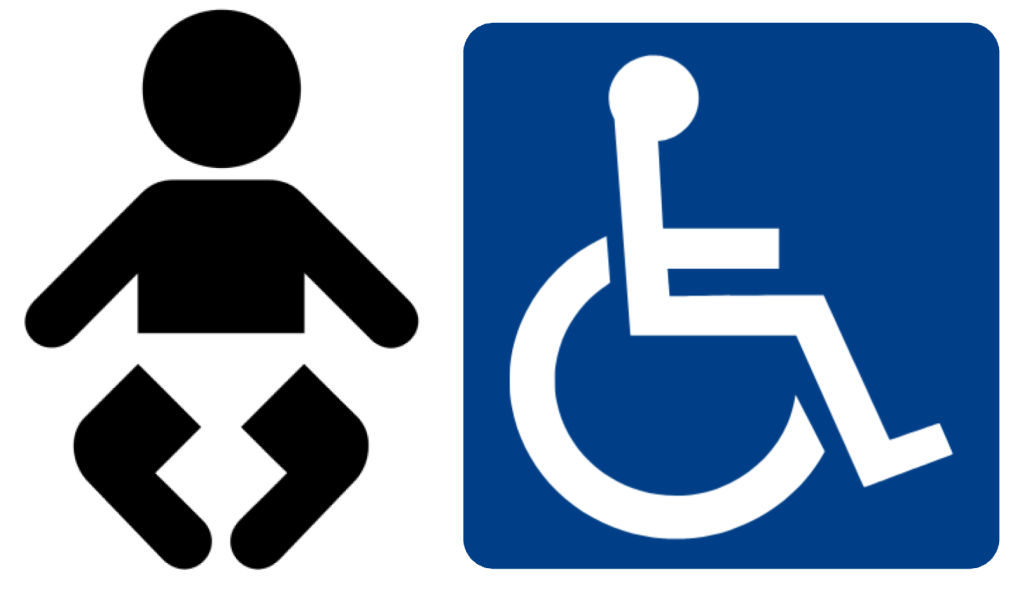 Baby change and wheelchair symbols.