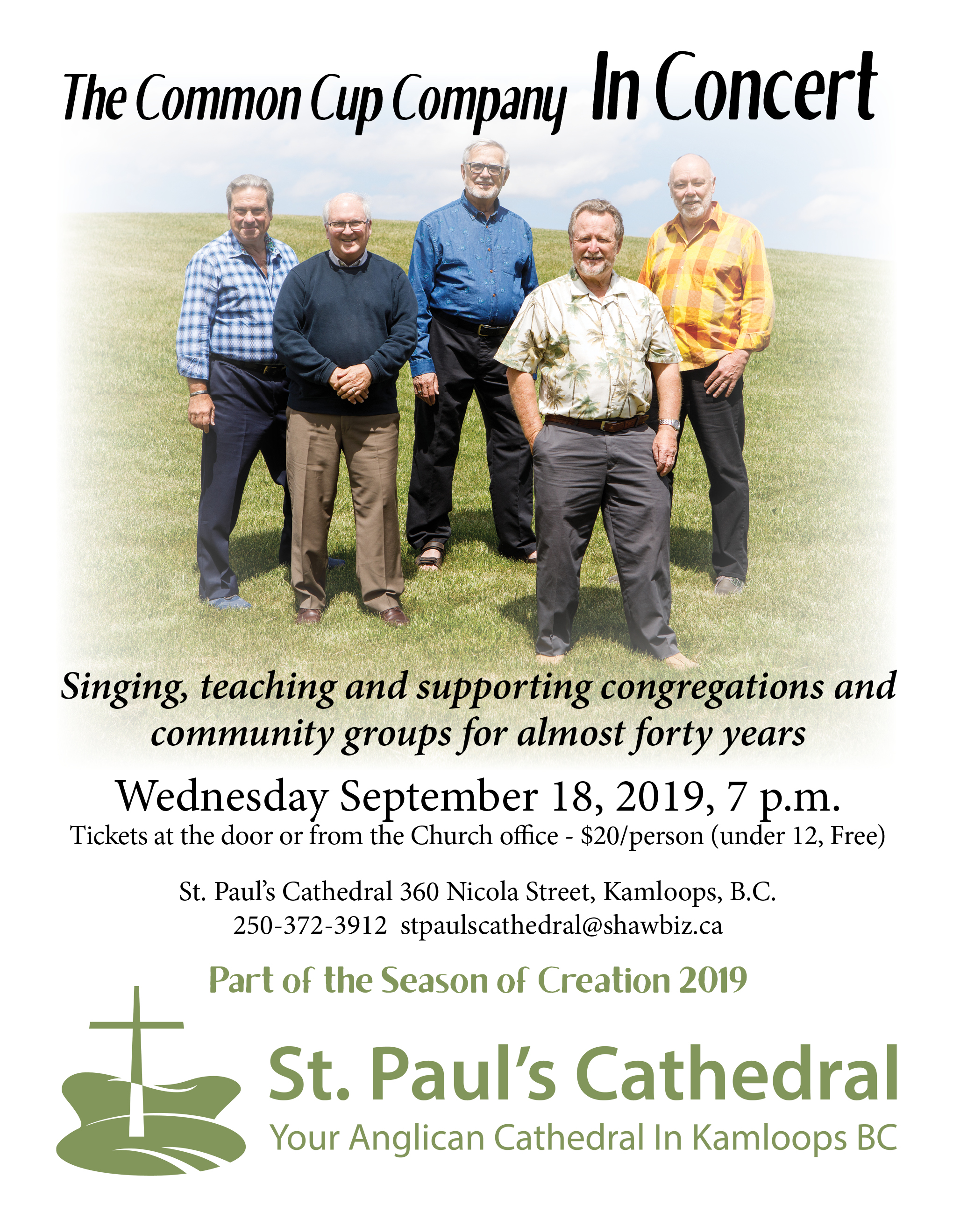Common Cup Concert, September 18 2019  at 7 pm. Tickets at the door  or office $20. St. Paul's Cathedral.